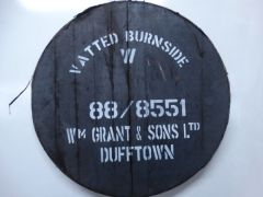 "CASK-LID Burnside Whiskyfass Deckel, schwarzer Deckel, weißer Aufdruck: VATTED BURNSIDE 88/8551 ""WMm GRAND & SONS Ltd"" DUFFTOWN"